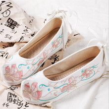New spring and autumn casual canvas female shoes bow stiletto embroidered flat retro sneakers