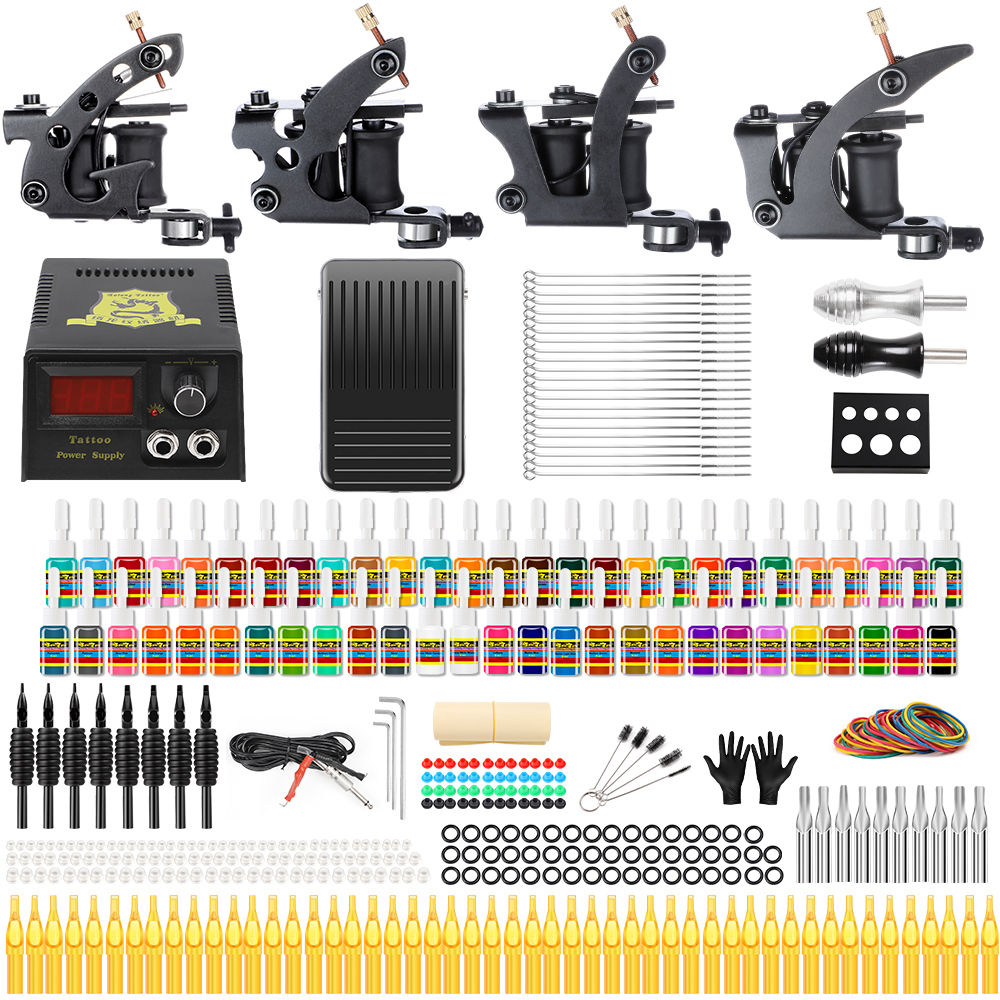 Hybrid Tattoo Complete 4 Coil Machine Kit For Beginner Power Supply Foot Pedal Grip Needles Tattoo Body&Art TK457Hybrid Tattoo Complete 4 Coil Machine Kit For Beginner Power Supply Foot Pedal Grip Needles Tattoo Body&Art TK457