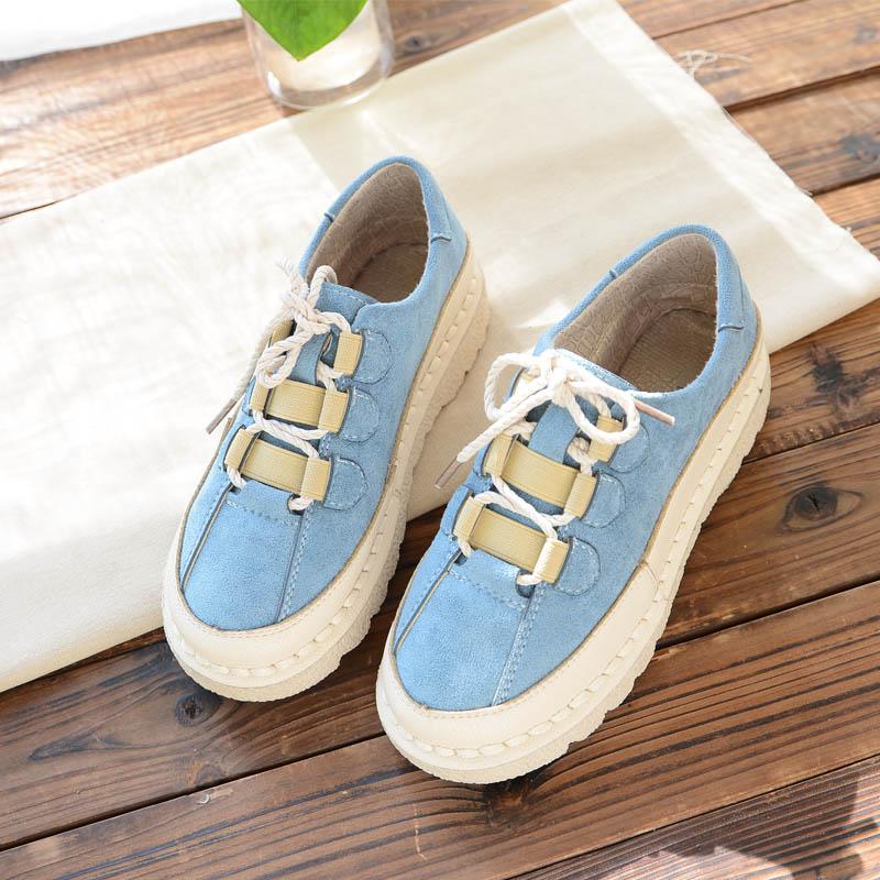 Echtem Frische Flache Casual Wilden blau Literarischen Kleine Einzigen Beige Leder Aus Retro Komfortable Schuhe Nizza Japanischen Mädchen himmel Frauen rosa qYAxXEv