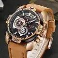 Lige relógios masculinos marca de luxo couro casual relógio de quartzo masculino esporte à prova dgift água presente relógio de ouro masculino relogio masculino