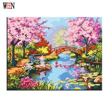 quiet park bridge Oil Painting By numbers Abstract DIY Handpaint Digital Picture On Wall Acrylic Coloring Numbers Canvas