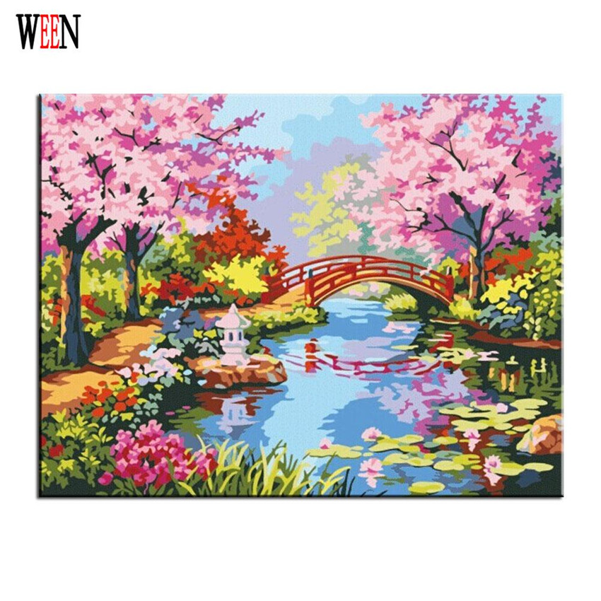 Flower bridge Painting By numbers Abstract DIY Handpaint Digital Christmas Gift Wall Picture Coloring By Numbers On Canvas