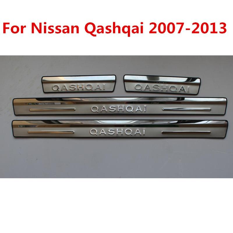 Acero inoxidable puerta externa sill Placa Interna para coche accesorios para Nissan QASHQAI 2013-2007 4 unids