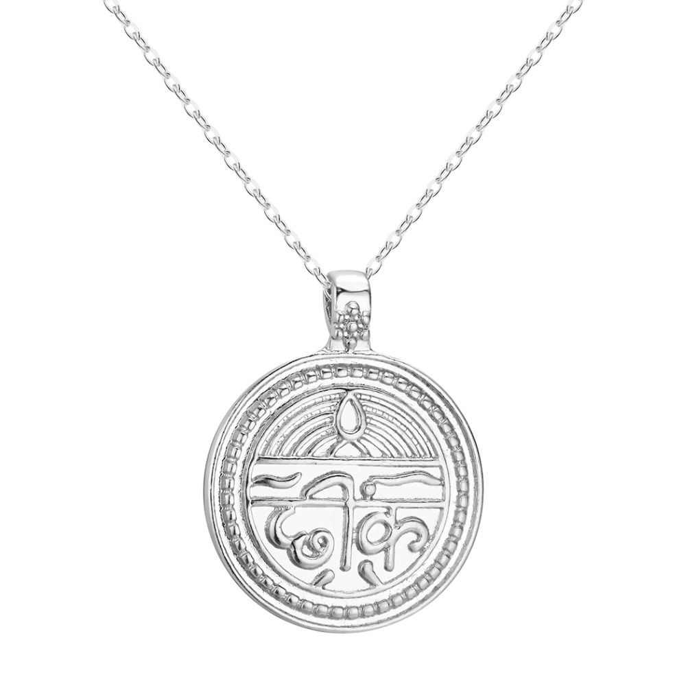 Chereda Sepanjang Paduan Sepanjang Kalung Perak Warna Emas Sanskerta Koin untuk Baik Kesehatan Spiritual Pesona Liontin Kalung Perhiasan