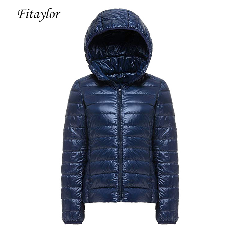 Fitaylor 90% White Duck Down Jacket Women Ultra Light Short Hooded Coat Autumn Winter Female Plus Size S-3xl Warm Down Coats