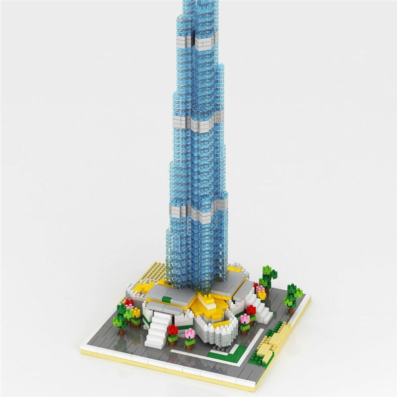 1681p Burj Khalifa Tower Building Small Plastic Brick Construction Diamond Block Classic Action figures toys for children gifts loz mini diamond block world famous architecture financial center swfc shangha china city nanoblock model brick educational toys