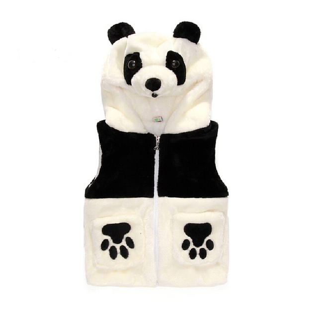 New 2016 Cartoon Panda Children Boy Girls Autumn Winter Hoodies Vests Kids' baby Cotton-padded Velvet Waistcoat With Hood