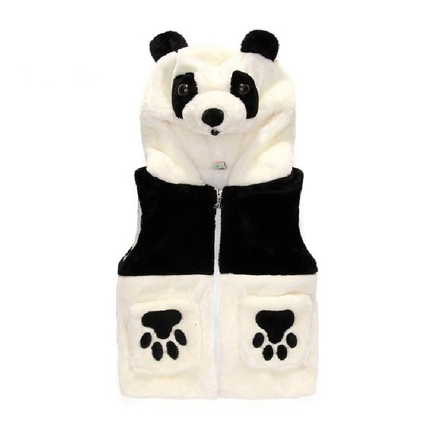 Novo 2016 Panda Dos Desenhos Animados Crianças Menino Meninas Hoodies Outono Inverno Coletes À Prova de Crianças do bebê do Algodão-acolchoado de Veludo Colete Com Capuz