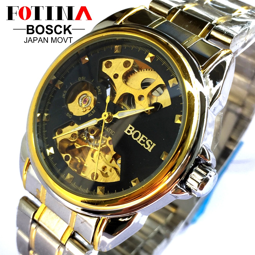 FOTINA Luxury Brand BOSCK Watch Man Automatic Skeleton Mechanical Watches font b Men b font Transparent