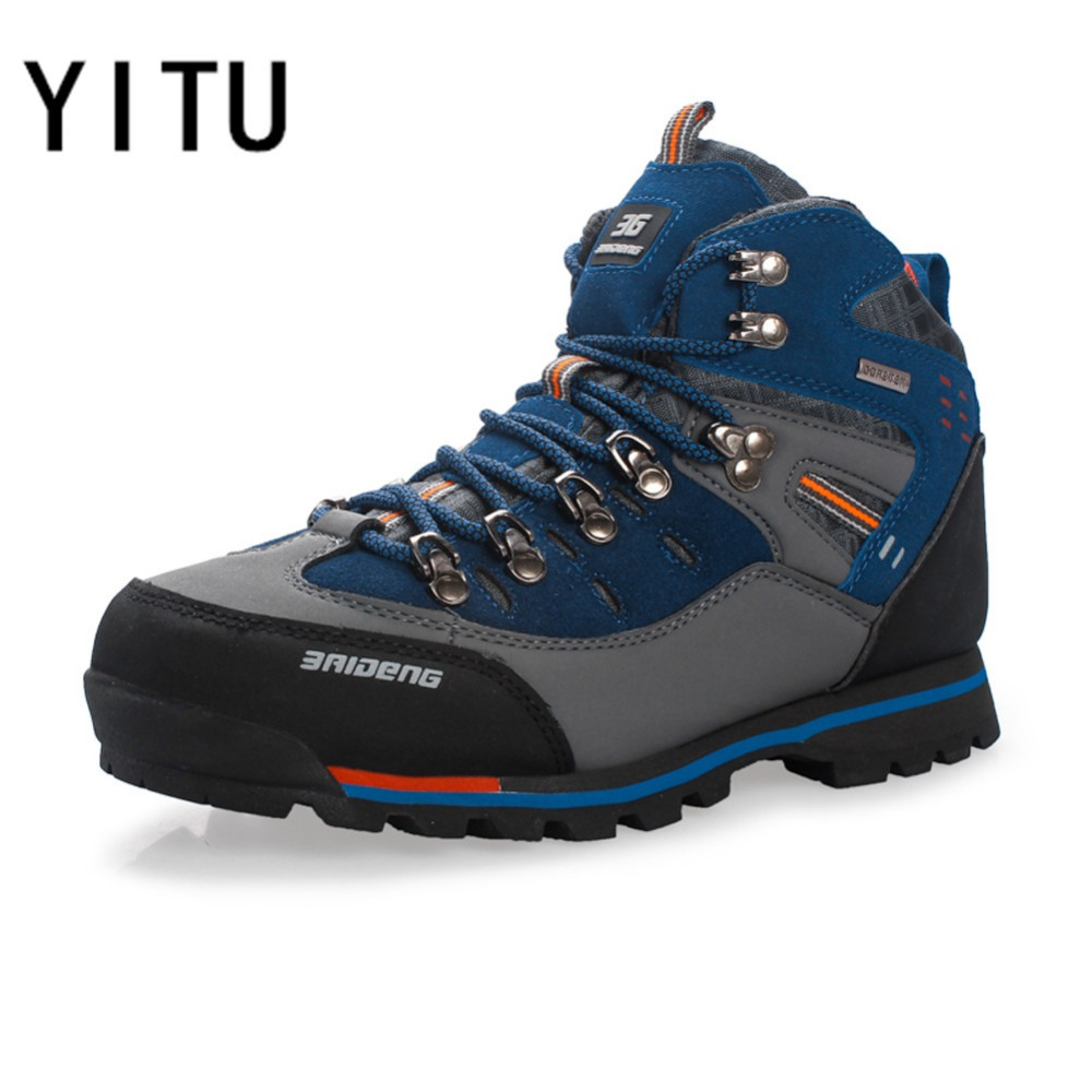 YITU Men Outdoor Hiking Shoes Comfortable Genuine Leather Winter Sneakers Trekking Climbing Hunting Boots Autumn Big Size Men hot sale winter hiking shoes men breathable outdoor leather trekking lace up sneakers boots brand climbing slip camouflage hunt