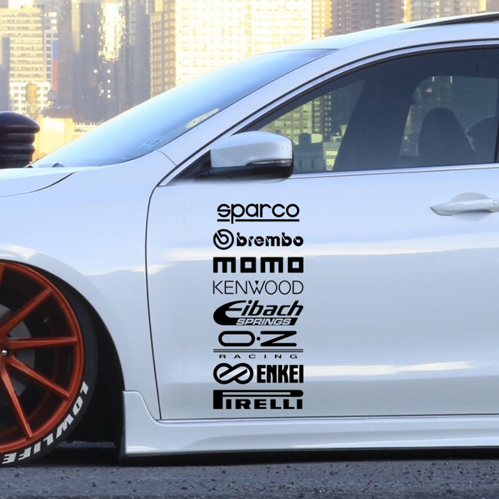 Image 3 - 8Pcs Car Door Stickers Set Sticker Car Kit Sponsor Technical Reflective Sticker Waterproof Racing Decoration Stickers-in Car Stickers from Automobiles & Motorcycles
