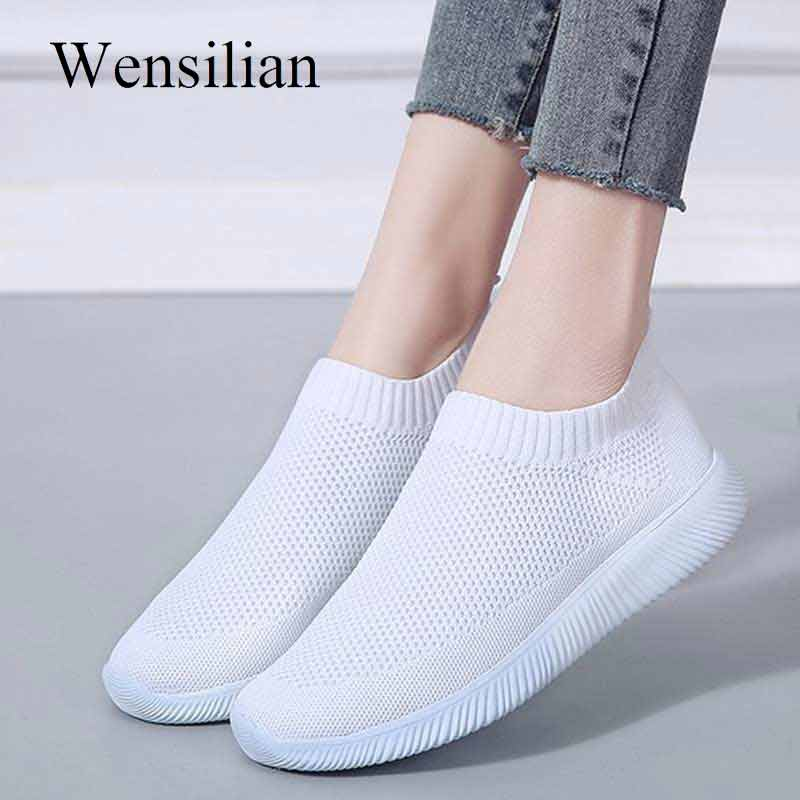 Knited Flat Shoes Women Sneakers Trainers Air Mesh Sock Shoes Slip-on Loafers Ladies White Sneakers Tenis Feminino zapatos mujer