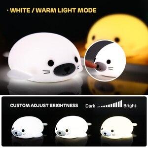Image 3 - לילה אור רך סיליקון מיני LED מנורת אורות 5 V 1200 3000mahbattery נטענת צבעוני תאורה אינדוקטיביים חמוד בעלי החיים D  hb