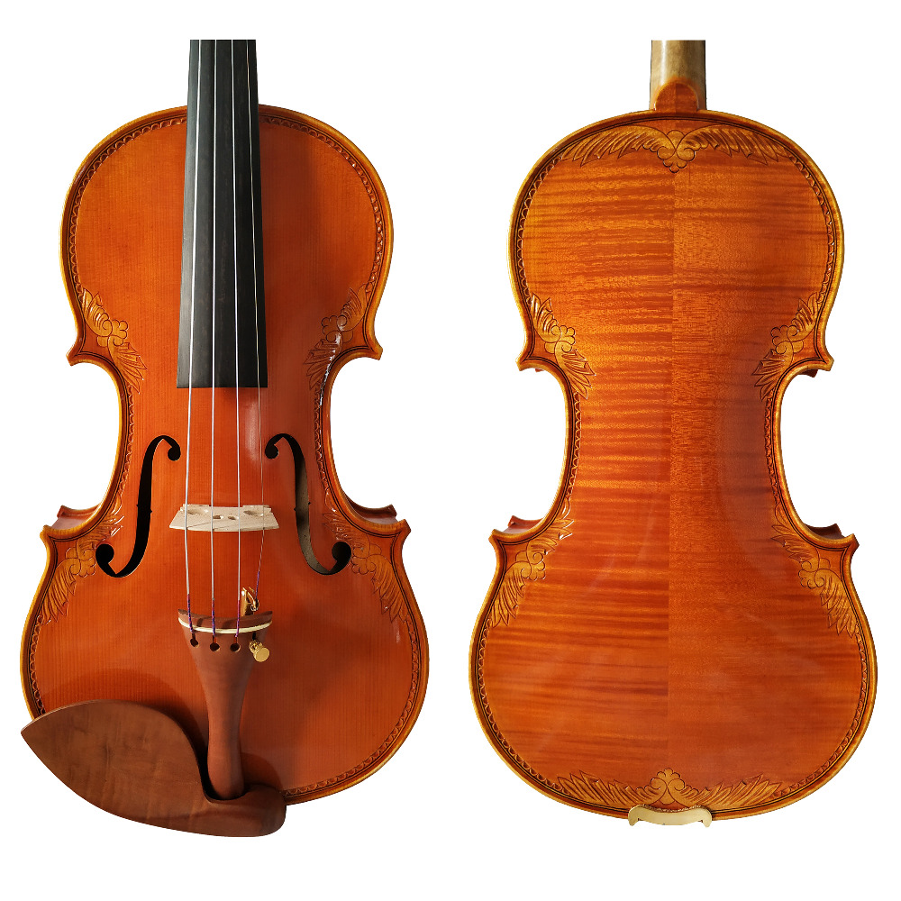 Free Shipping Copy Stradivarius 1715 100 Handmade Carving Flower FPVN03 Violin Carbon Fiber Bow Foam Case