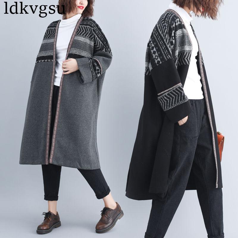 2018 Oversize Women Winter V Neck Batwing Sleeve Indian Style Prints Patchwork Long Loose Cardigan Woolen