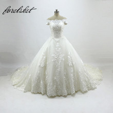 Luxury Full Pearls Wedding Dress Long Sleeves Ball Gown 2017 Wedding Dresses Princess lace bridal gown for wedding bride dresses