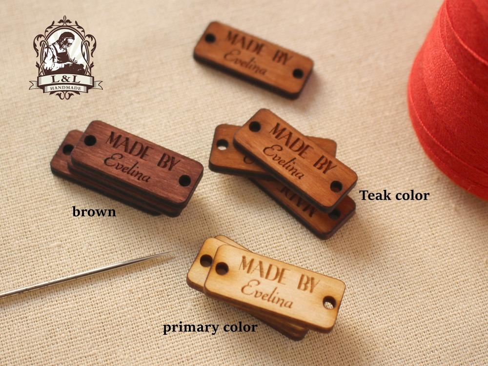 d1f79e5fcb1f4 custom garment labels, wooden clothing tags, knitting labels, crochet  labels, personalized labe (WDBQ75)