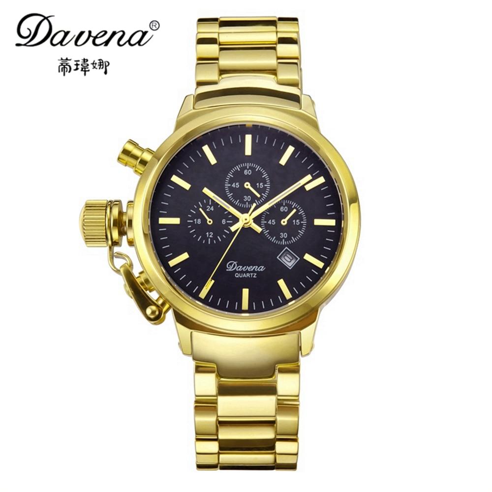 Фото Best Unisex Calendar Wristwatches Hot Women Men Dress Watches Fashion Casual Quartz Watch Luxury Brand Davena 60355 Gold Clocks