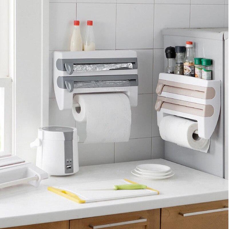 1 Pc Multifunctional Kitchen Shelf Plastic Wrap Portable Storage Shelf