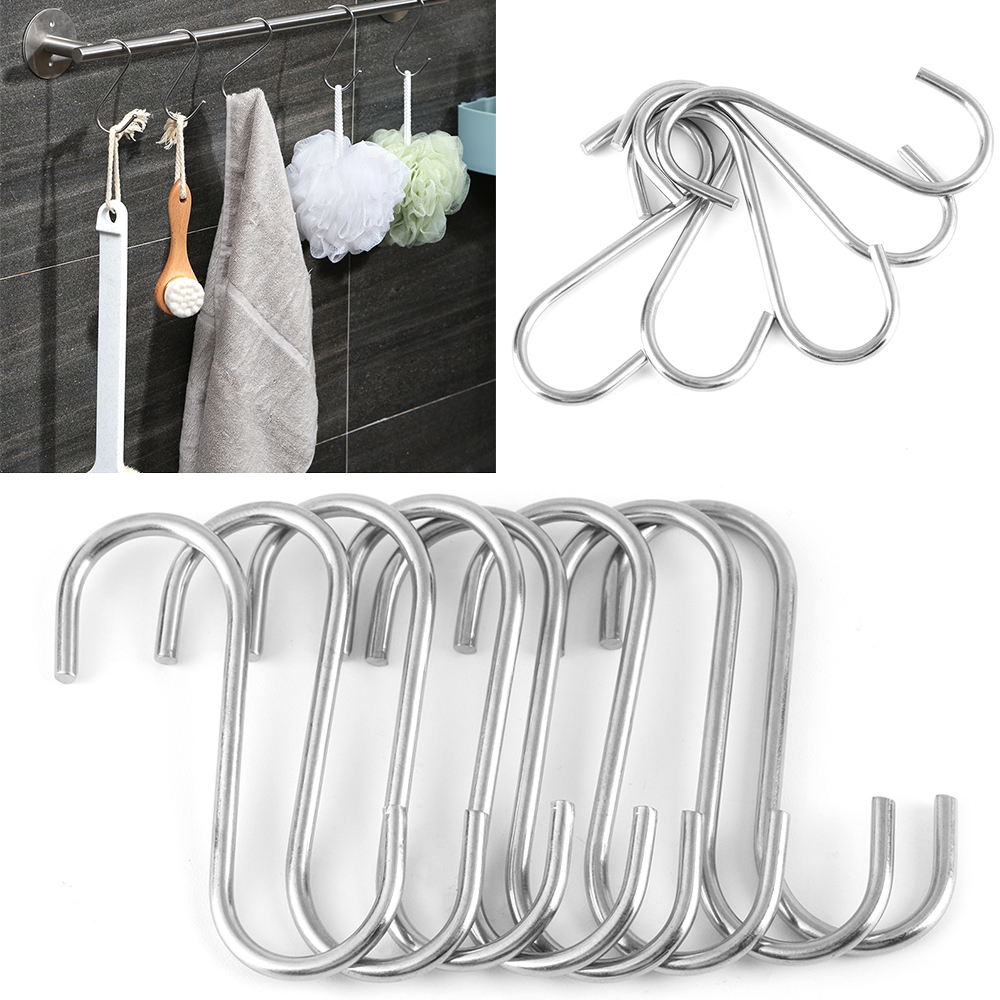 10Pcs S Shaped Stainless Steel Hooks /& Rails Kitchen Household Hanger Storage#