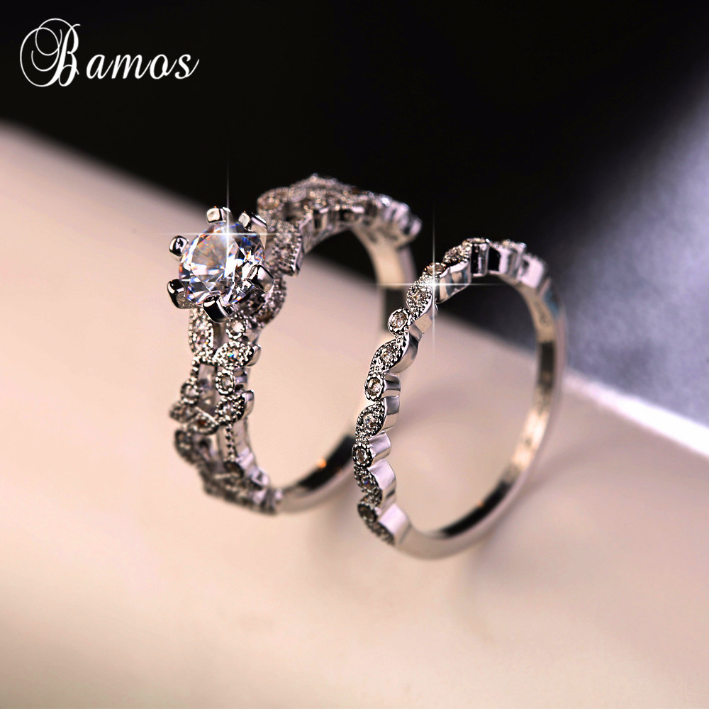 90% OFF ! Bamos Female White Round Ring Set Luxury 925 Silver Ring Vintage Wedding Band Promise Engagement Rings For Women(China)