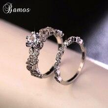 90%-ная скидка! Бамос женский набор белых круглых колец, роскошное 925 серебряное кольцо, винтажное обручальное кольцо, кольца для помолвки для женщин