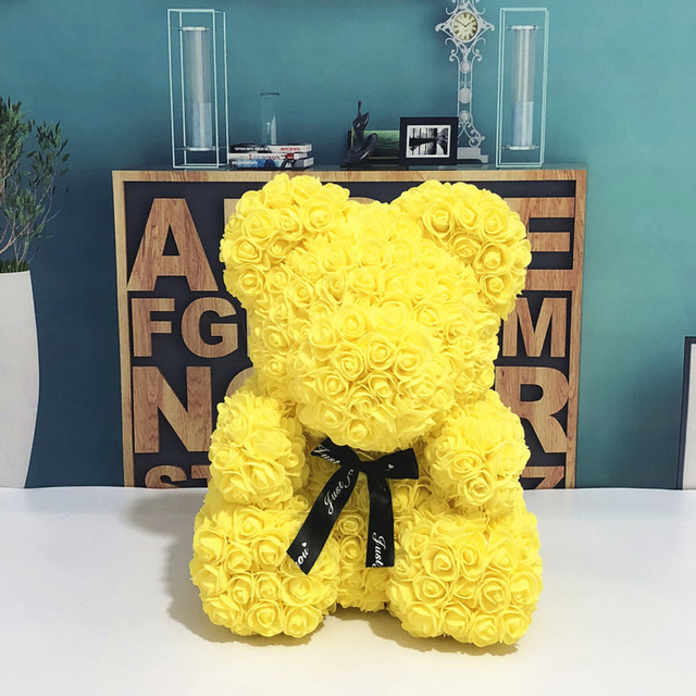Wedding Customized Gift Multicolor Valentines Gift 40cm PE Yellow Rose Bear for Girlfriend Gift Anniversary Gift free shipping