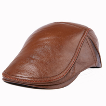 2017 New Design Men's 100% Genuine cowhide  Leather Cap /Newsboy /Beret /Cabbie Hat/ Golf Hat цена