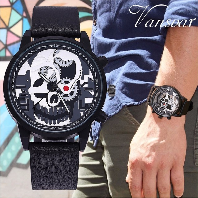 Vansvar Brand Men Unique Pirate Skeleton Skull Quartz Watches Luxury Leather Men
