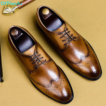 цена на Adult Men Dress Shoes Genuine Leather Designer Luxury Classic Business Wedding Office Formal Brogue Shoes Men US 11.5