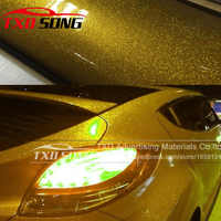 12/30/50/60CMX100CM/LOT Gold High Glossy Glitter Diamond Car Wrap Color Change Film Glossy glitter vinyl sticker Gold glitter