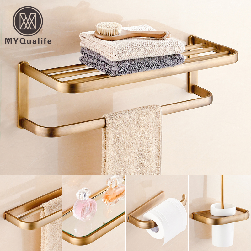 Good Quality Brass Antique Bathroom Towel Holder Bar Wall Mount Glass Cosmetic Shelf Toilet Paper Holder Brush Holder white painting wall mount brass bathroom toilet paper holder hook hanger shelf