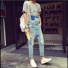 2016 Summer New Men denim strap pantyhose tide one piece suspenders denim overalls pants bib trousers jeans singer costumes