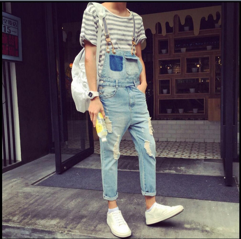 2016 Summer New Men denim strap pantyhose tide one piece suspenders denim overalls pants bib trousers jeans singer costumes