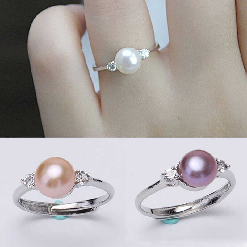 Fresh Fashion Natural Freshwater Pearl Ring Engagement Eternity Adjustable Ring(Order note opp bag independent packaging)