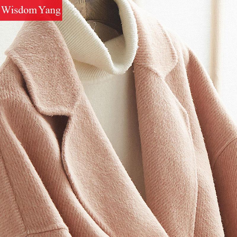 Coat Long khaki Alpaga Blue Hiver Manteaux Dames Femmes Coat Moutons Kaki Occasionnel Coat Survêtement De Rose Tendance Laine Élégant pink Manteau Chaud Bleu wqHBwPA