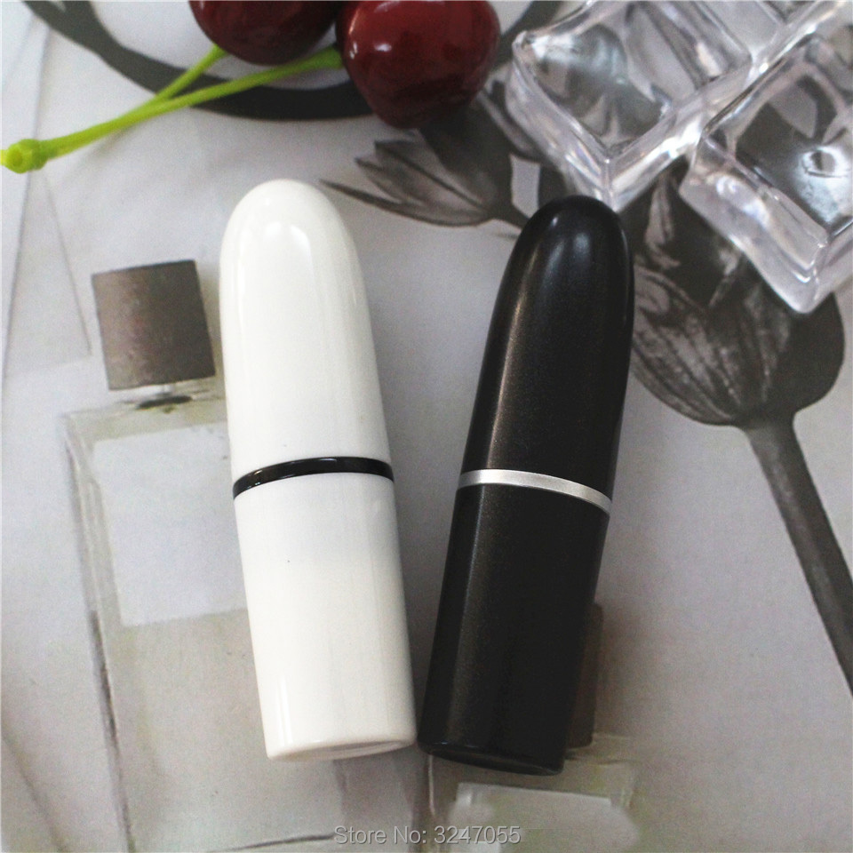 20pcs 50pcs 12.1mm Empty White Bullet Lipstick Tube, Plastic DIY Black Lip Rouge Filler, Portable Lip Balm Storage Containers greenco mini food storage containers condiment and sauce containers baby food storage and lunch boxes leak resistant 2 3 oz each round containers set of 20