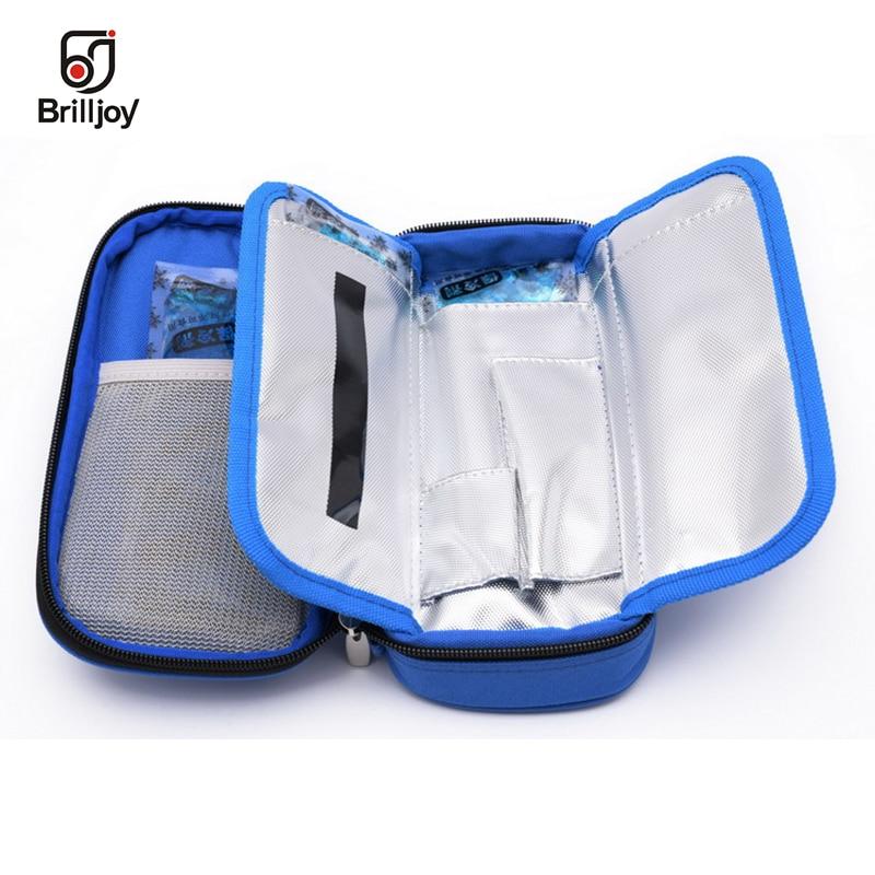Brilljoy Portable Insulin Cooling Bag Ice Pack Thermal Cooler Bag Refrigerator Bolsa Termica 4-24 Degree Centigrade Display A50