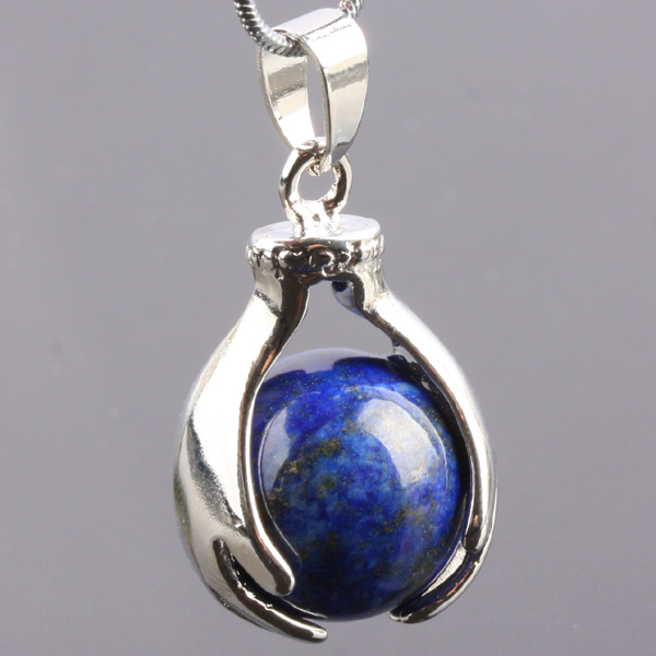 1Pc Blue Lapis Lazuli Gem Stone Hand Hold Bead Charm Pendant Fit Necklace (Included Chain)