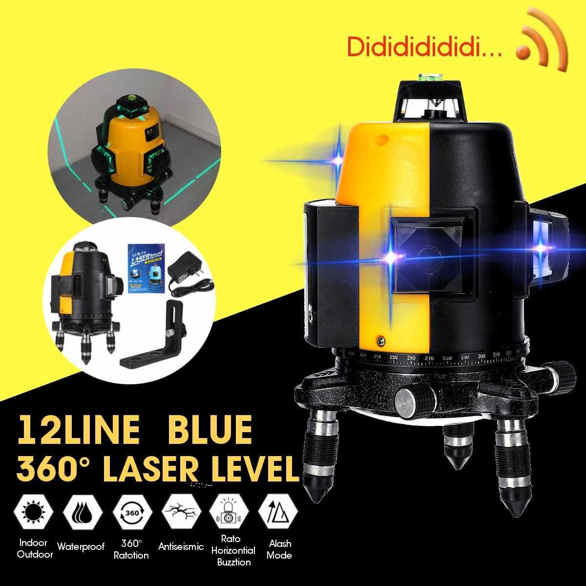 Professional Blue Laser Level 360 degree 12Line 3D Portable Laser Measuring Horizontal And Vertical Cross