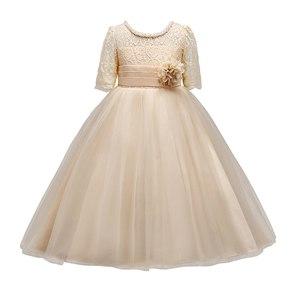Image 3 - VOGUEON 王女のウェディング十代のドレス夏半袖フラワーガールのイブニングホワイトロングドレスレースパーティーエレガントなページェント Gala ガウン