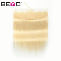 613 Frontal Closure Brazilian Hair 13X4 Straight Frontal Closure Preplucked Transparent lace Frontal Human Hair Non Remy Beyo