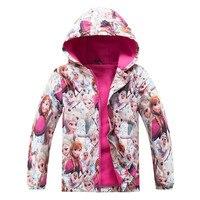 Meninas encapuzados jaqueta primavera Casaco Traje Anna Elsa Rainha da Neve Roupas Blusão para Crianças Outerwear bebê Roupas blazer