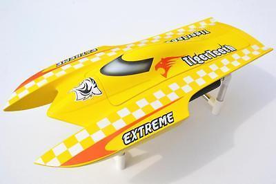 E22ชุดTigerฟันCatamaran Prepaintedไฟฟ้าRCแข่งเรือสำหรับAdvanced PlayerสีเหลืองTH02622