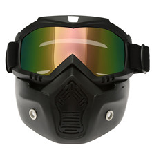 New Motocross Ski Glasses Motorcycle Goggles Windproof Detachable Masque Mask Goggles Mouth Filter For Open Face Vintage Helmets