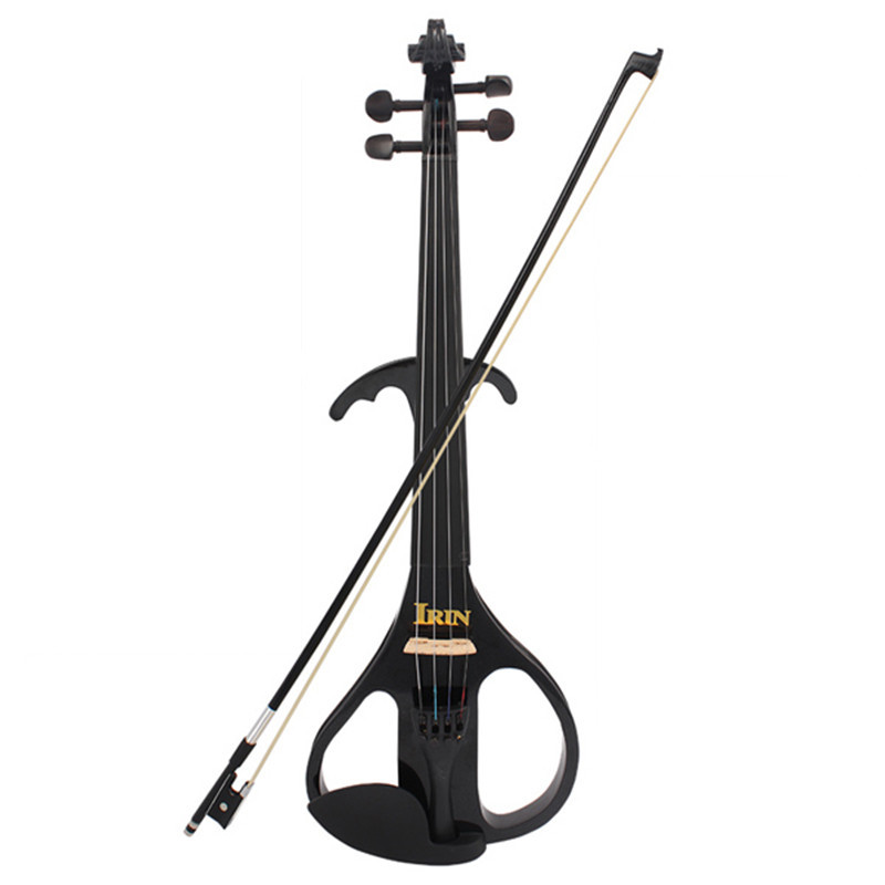 AU-05 4/4 Maple Electric Violin Gold Plated Metal Ebony Fingerboard with Pickup Case & Accessories Shoulder Rest Set Kit 4 4 high quality 5 string electric violin yellow 2 pickup violin
