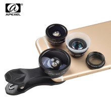 APEXEL Common Clip 5 in 1 Digital camera Lens Package for iPhone Samsung Xiaomi cell phone Lenses Fisheye Macro