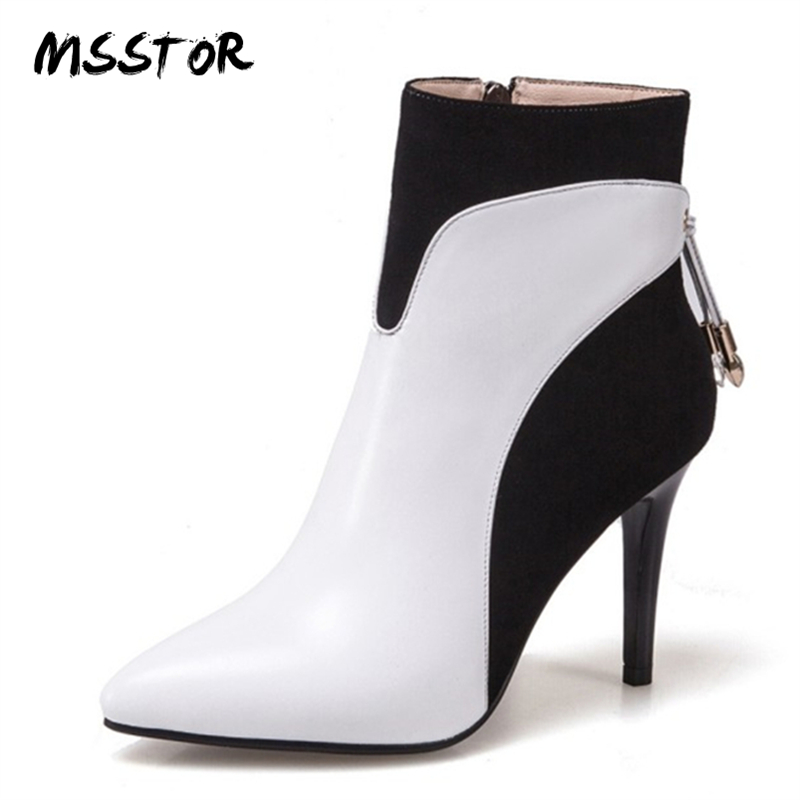 MSSTOR Genuine Leather Women Pumps Pointed Toe White Autumn Fashion Stiletto Party Shoes Woman Winter Mixed Colors Ankle Boots printing new boots 2015 autumn winter genuine leather mixed colors thick with pointed toe woman boots stylish comfortable shoes