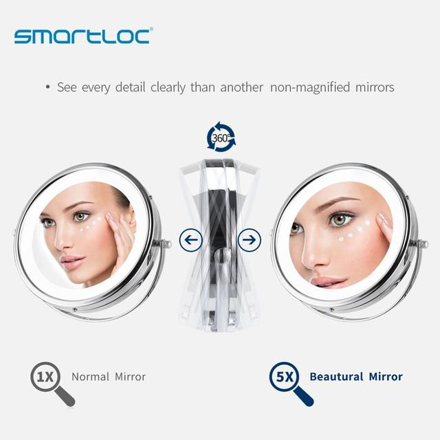 smartloc Extendable LED 8 inch 5X Magnifying Bathroom Wall Mounted Mirror Mural Light Vanity Makeup Bath Cosmetic Smart Mirrors 3