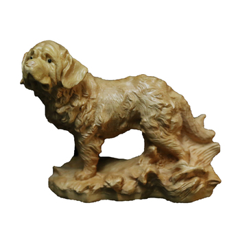 Chinese Style Wood Carving Tibetan Mastiff Handle Piece Wooden Animal Zodiac Dog Home Decoration Car Pendulum Office